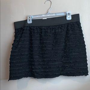 Plus size black shredded mini skirt